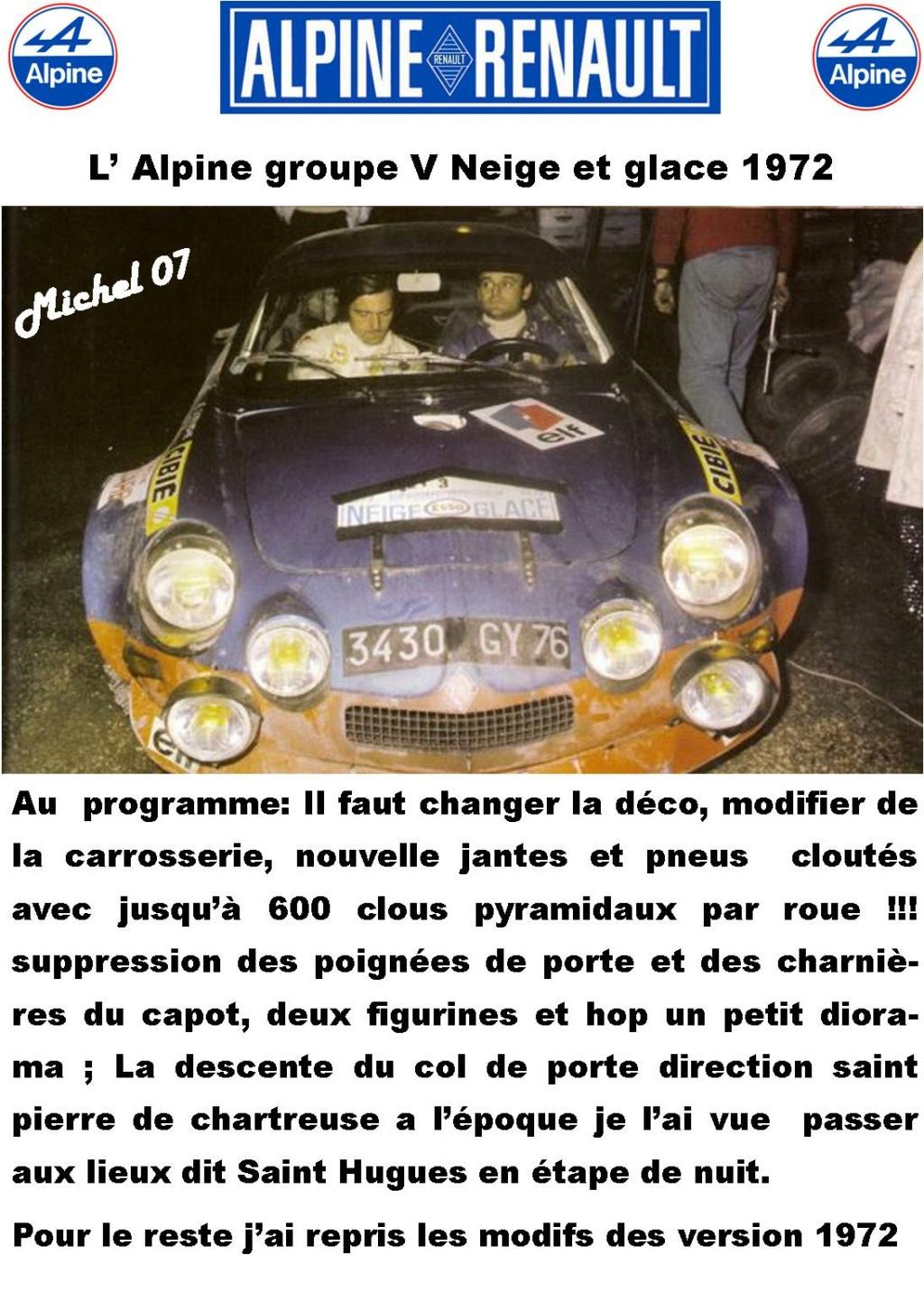 Fil rouge 2021 * Alpine A110 Groupe V Neige et glace 1972 1/24 Heller 80745 + scratch 1_211