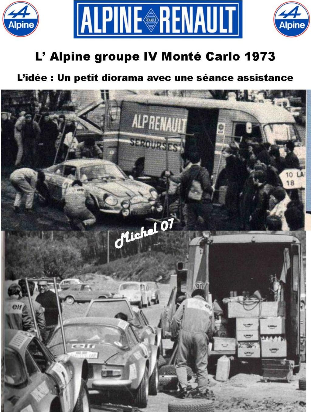 Fil rouge 2021 * Alpine A110 Groupe IV Monté Carlo 1973 1/24 Heller 80745 diorama assistance 1_310