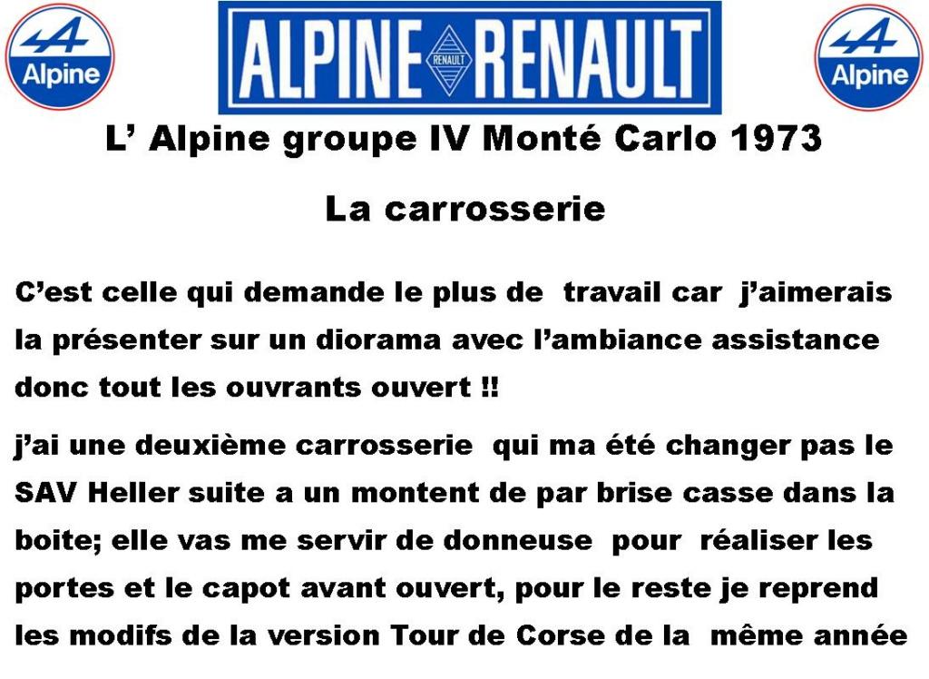 Fil rouge 2021 * Alpine A110 Groupe IV Monté Carlo 1973 1/24 Heller 80745 diorama assistance 3_310