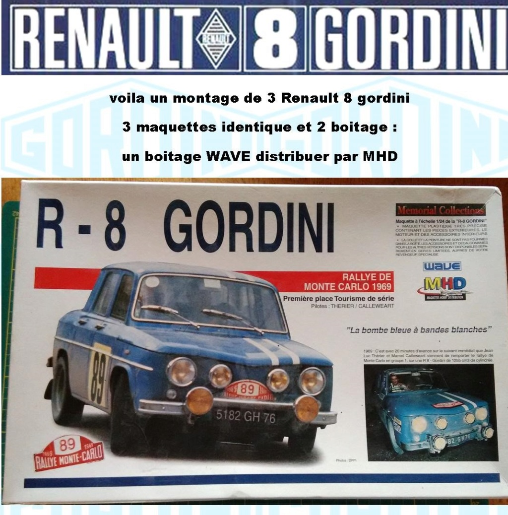 Trois Renault 8 gordini Heller 1/24 Image165
