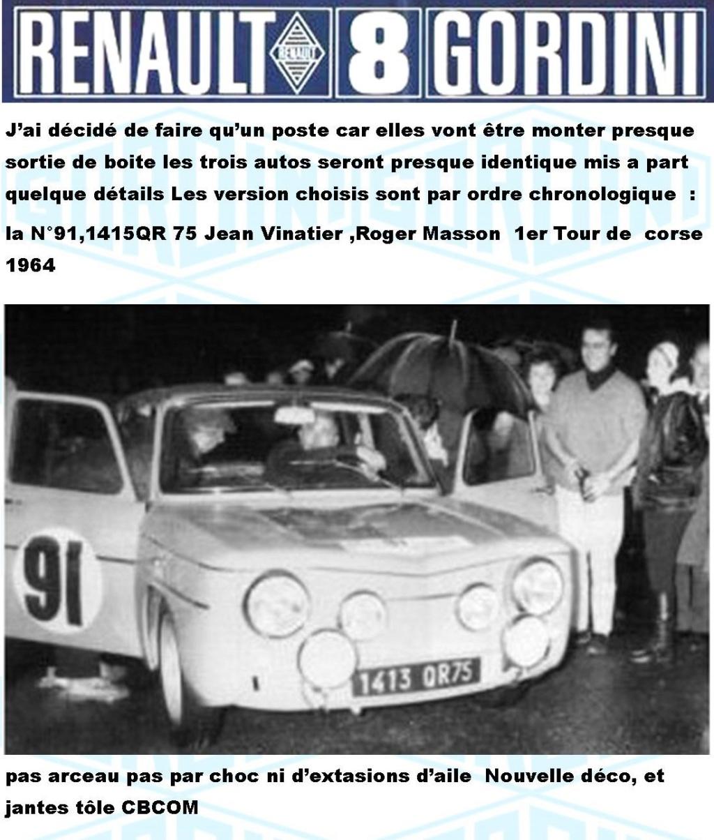 Trois Renault 8 gordini Heller 1/24 Image715