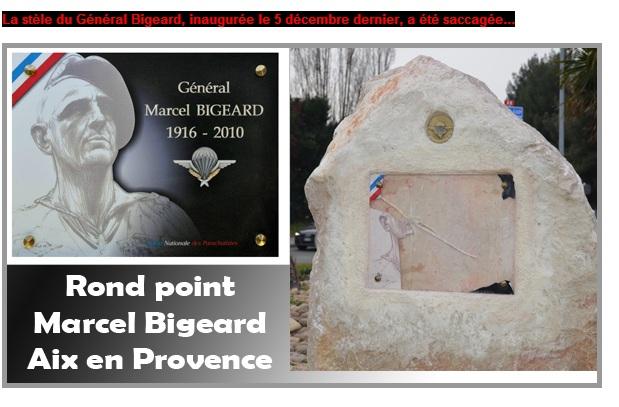 la stèle Bigeard saccagée Bigear11