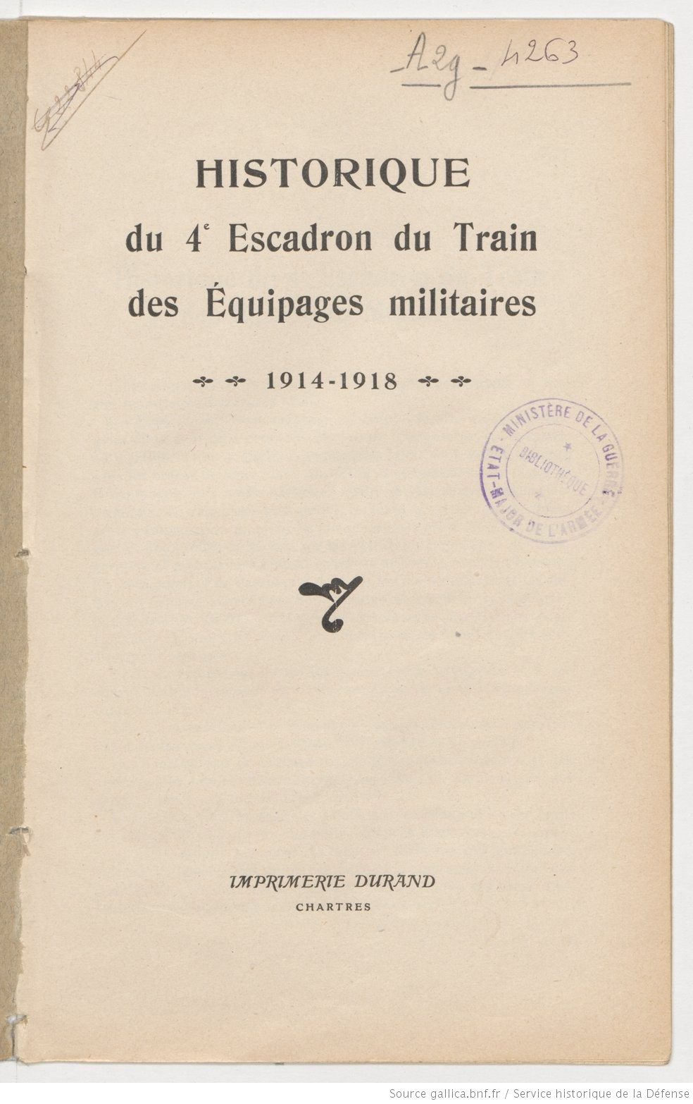 Historique du 4° Escadron du Train des Équipages militaires (1914 – 1918) Histor10