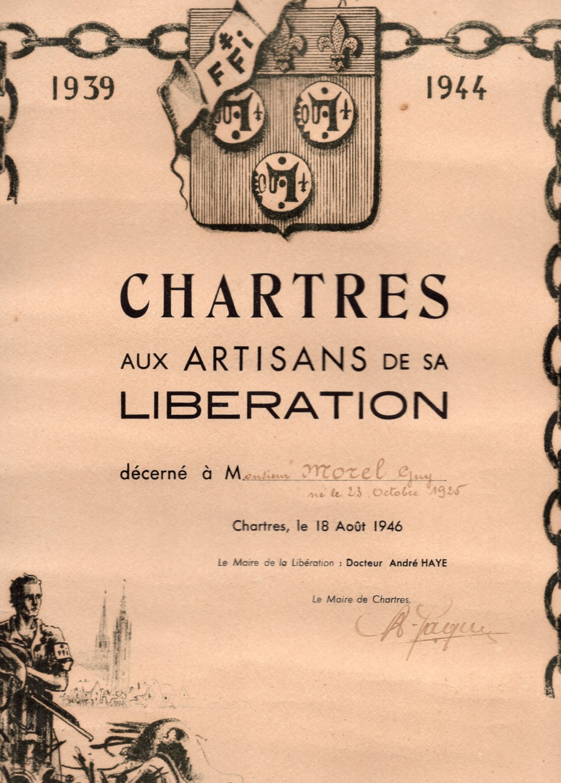 Diplôme des FFI et des FTP qui ont pris part à la libération de Chartres Img03311