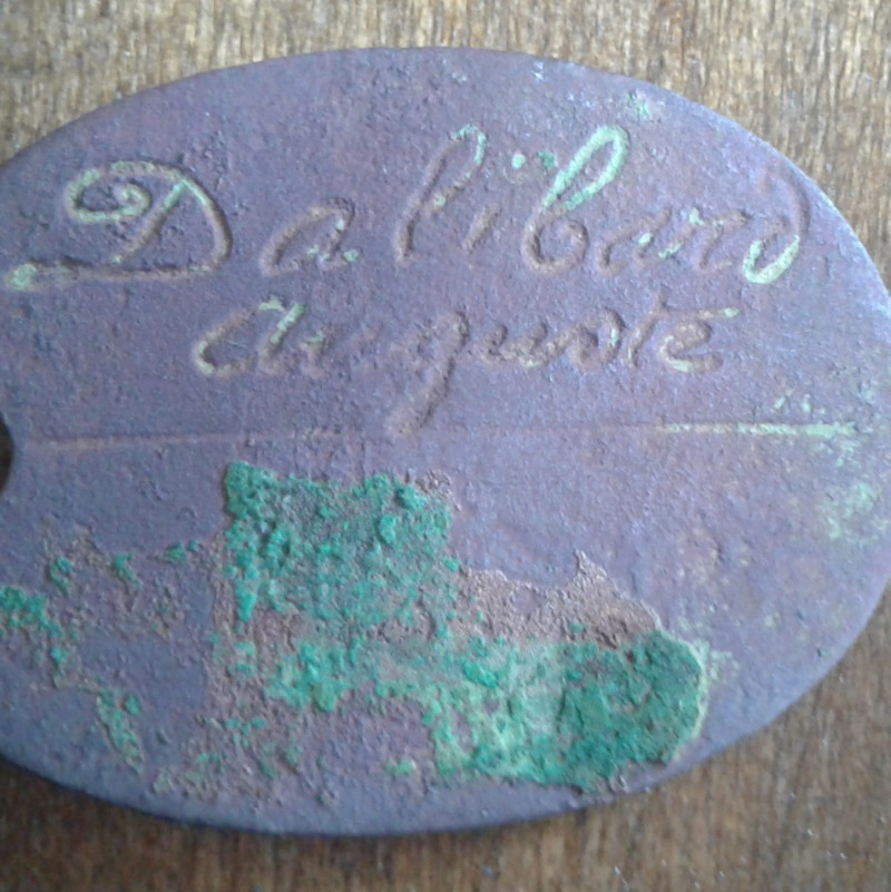 Plaque d'identité d'Auguste Dalibard , 4éme Escadron du train des Equipages Plaque12