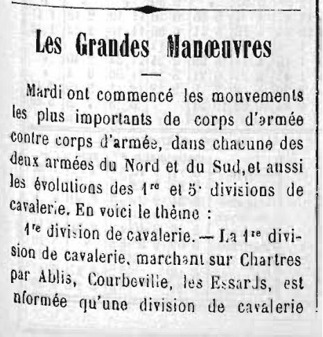 Les Grandes Manoeuvres de 1900 à CHARTRES S110