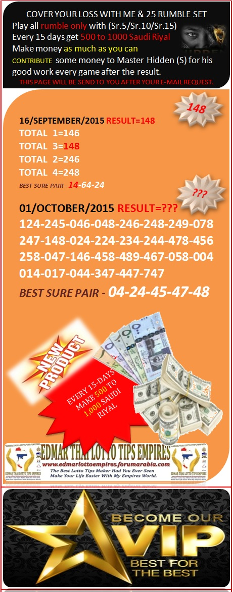 VIP DATA FOR ALL MEMBER BEFORE THE RESULT 01/OCTOBER/2015 11:00 MORNING(FREE VIEW -UPDATE-DONE) Cover_13