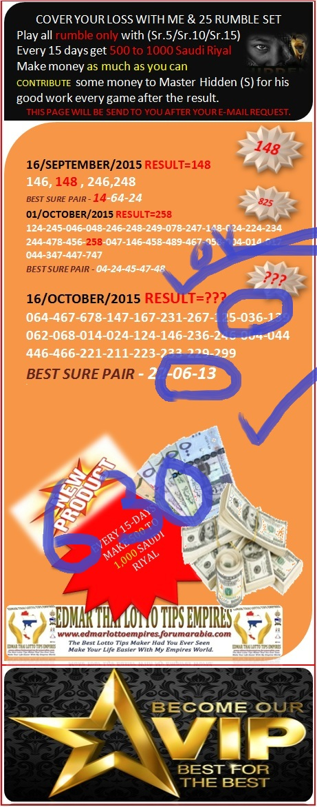 VIP DATA FOR ALL MEMBER BEFORE THE RESULT 16/OCTOBER/2015 11:00 MORNING(FREE VIEW -UPDATE-DONE) Cover_16