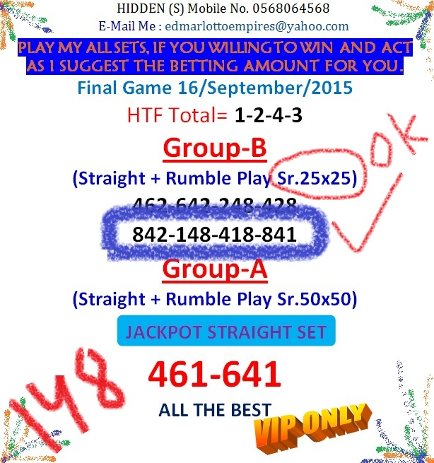 VIP DATA FOR ALL MEMBER BEFORE THE RESULT 16/JULY/2015 11:00 MORNING (FREE VIEW-UPDATE) Final_12