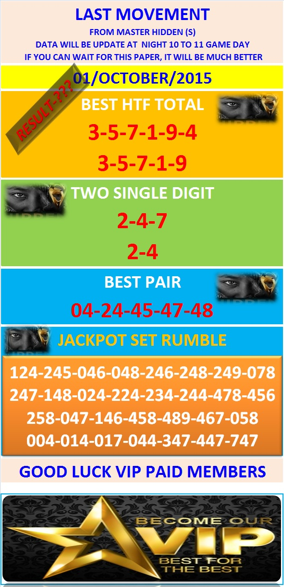 VIP DATA FOR ALL MEMBER BEFORE THE RESULT 01/OCTOBER/2015 11:00 MORNING(FREE VIEW -UPDATE-DONE) Last-m13