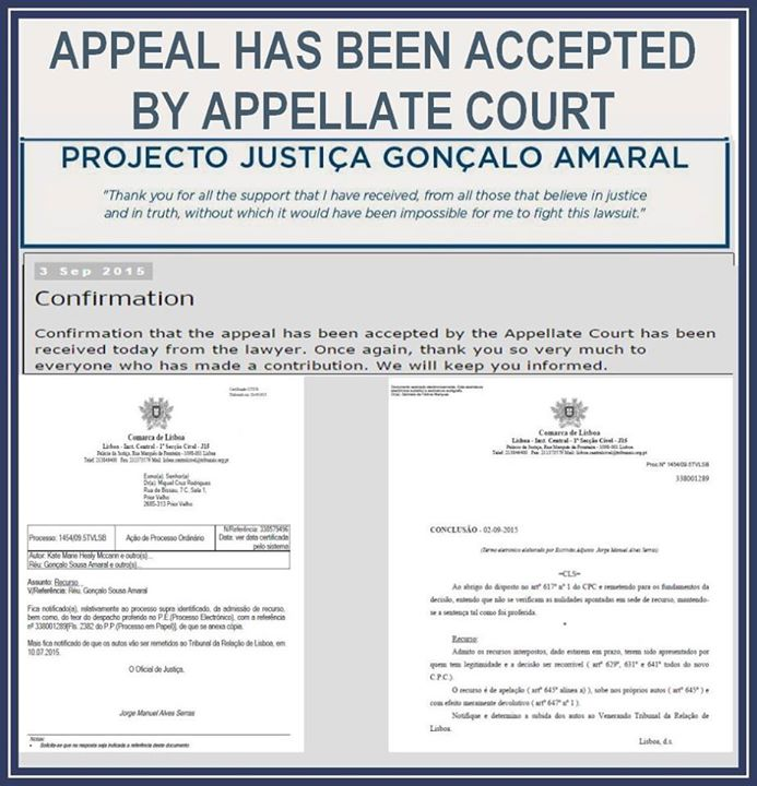 Confirmation Goncalo Amaral appeal accepted 11051910