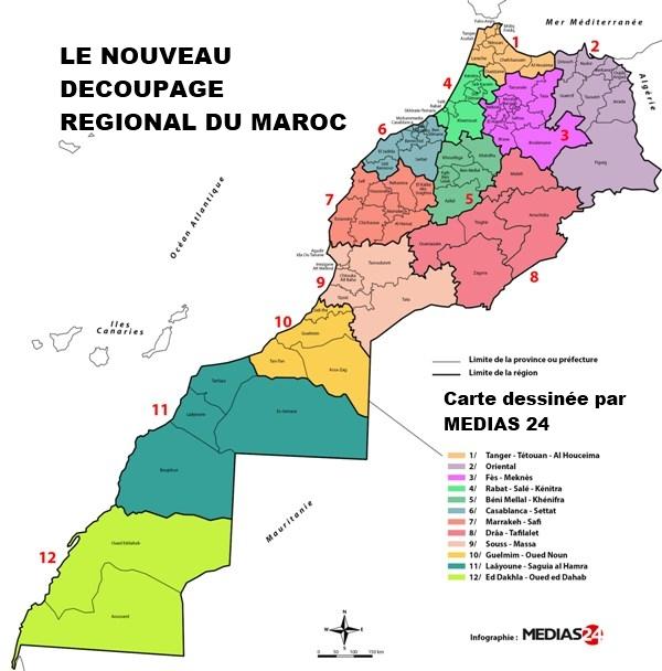 Les Regions , nouveau decoupage  Maroc  Carte_10