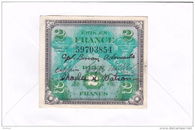 Billet d'invasion US avec noms soldats 607_0010