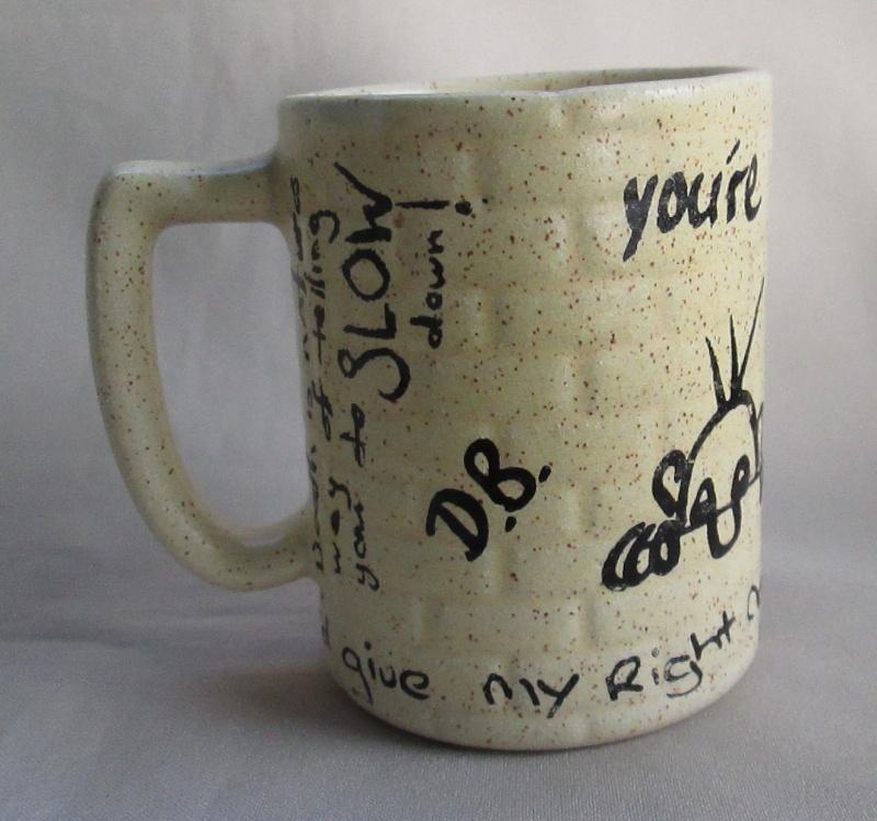 Graffiti Brick Wall shape Mug was made by Titian Potteries Img_3515