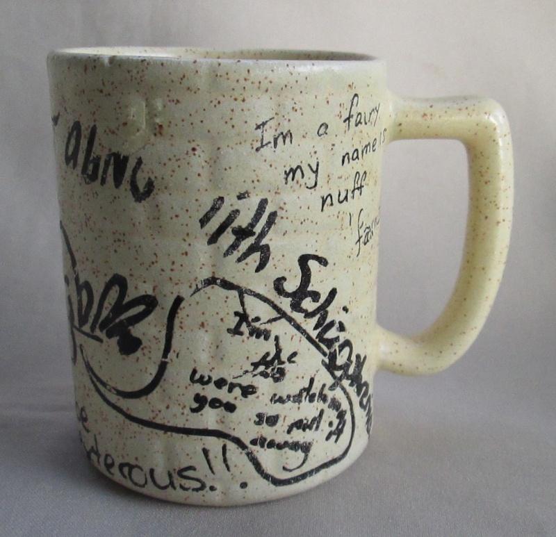 Graffiti Brick Wall shape Mug was made by Titian Potteries Img_3517