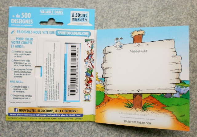 "Carte cadeau Astérix ""Spirit of cadeau "" P9110011"