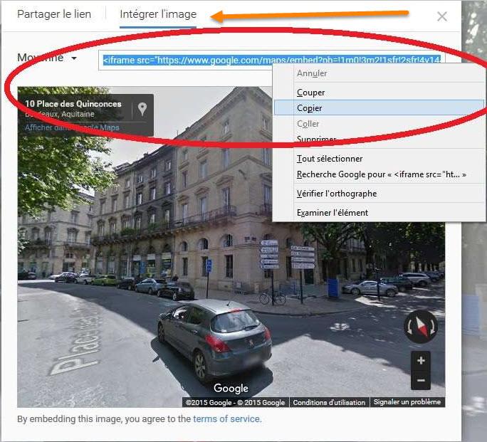 Comment intégrer sur une page une animation STREET VIEW ? 2015-111