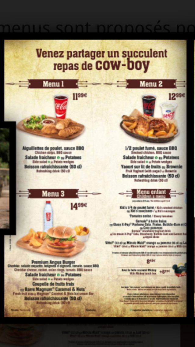 les menus des fast food et restauration rapide disneyland paris page 20. Black Bedroom Furniture Sets. Home Design Ideas