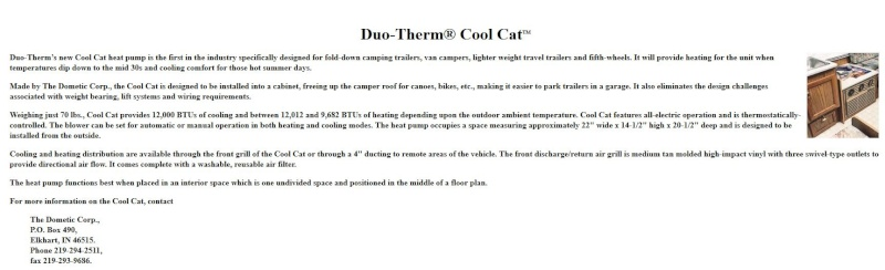 info air climatisé DUO-THERME COOL CAT HEAT PUMP Captur43