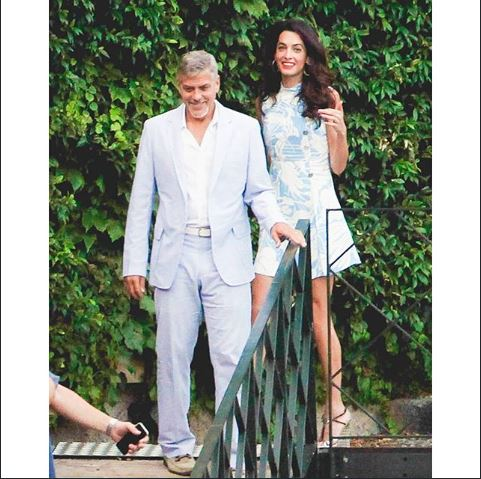 George and Amal Clooney look smitten as they don matching blue hues for date night in Lake Como July 24, 2015 - Page 2 Bb11