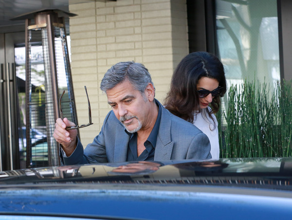 George and Amal lunch with David Milliband in Beverley Hills Oct 22 2015 Dd10