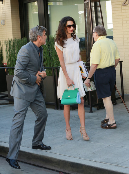 George and Amal lunch with David Milliband in Beverley Hills Oct 22 2015 Dd310