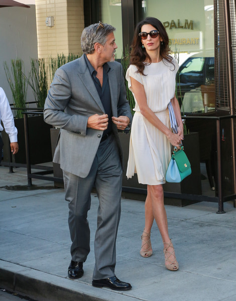 George and Amal lunch with David Milliband in Beverley Hills Oct 22 2015 Dd410