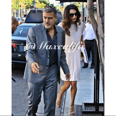 George and Amal lunch with David Milliband in Beverley Hills Oct 22 2015 Ff410