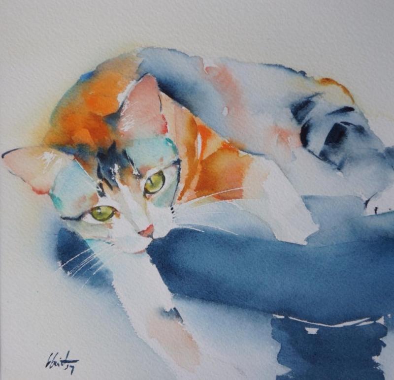 Le portrait de votre chat à l'aquarelle...Au profit de l'Ecole du chat de Quiberon - Page 19 11902410