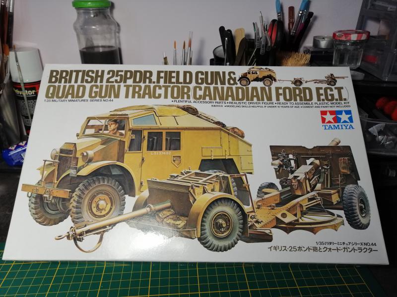 British 25 PDR. Field Gun & Quag Gun Tractor Canadian Ford F.G.T. Tamiya  1/35 023