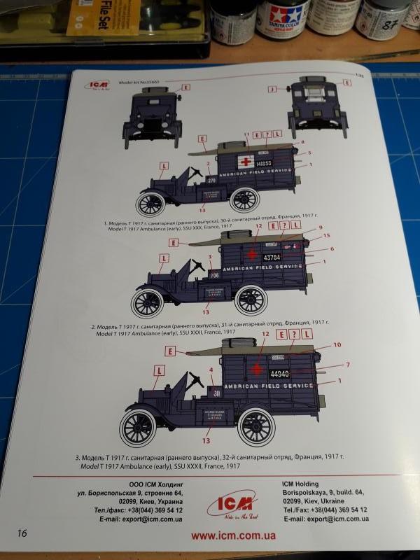 Fil rouge 2019 : Model T ambulance 1917 1/35 de chez ICM *** Terminé en pg 3 918