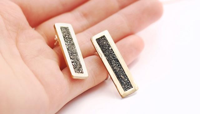Boucles d'oreilles  laiton et pyrite 14372510