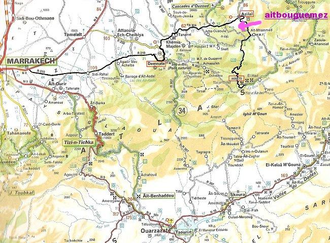 Azilal vallée Ait bouguemez carte photos et vue satellite Mimoun13