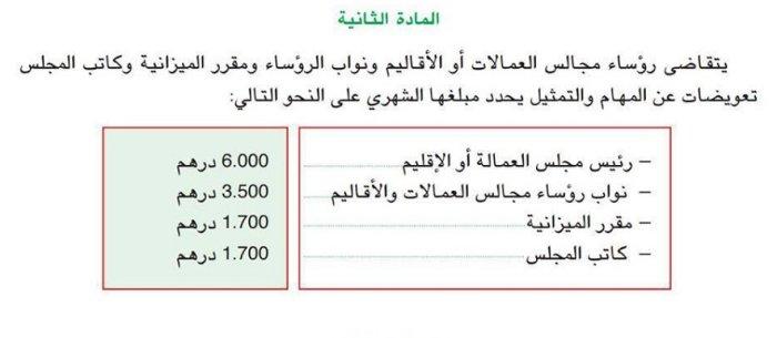 salaire prime compensation des elus regions et coommunes Maroc Salair11