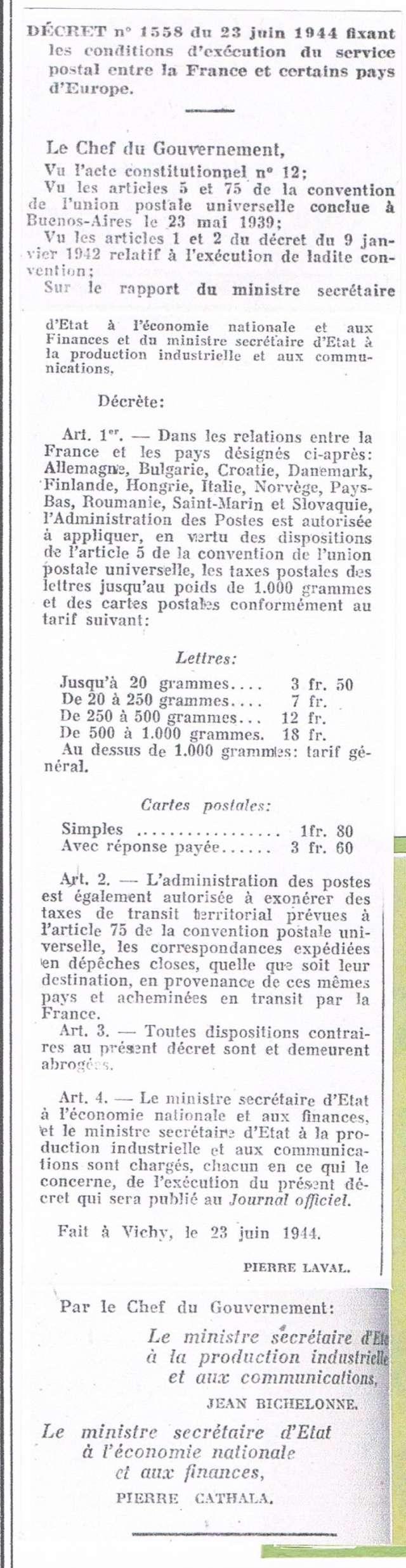 Les Tarifs postaux du décret n° 1558 du 23 juin 1944 entre la France et certains pays d'Europe.Texte du décret Ccf17110