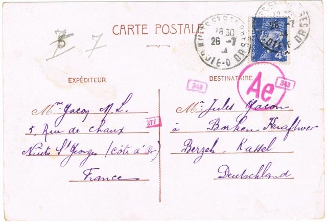 Les Tarifs postaux du décret n° 1558 du 23 juin 1944 entre la France et certains pays d'Europe.Texte du décret Ccf17111