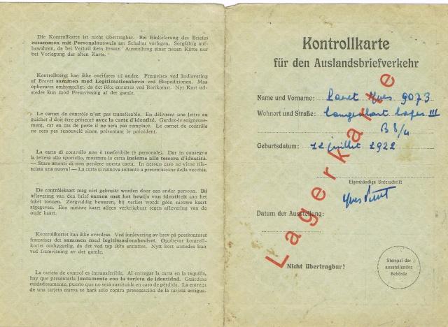 Lettres recommandées des STO ne sont plus admises par la censure de Francfort/M (e) (suite) Ccf23010