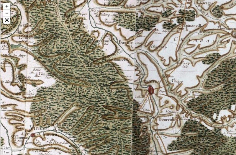 Voyage dans la France du XVIIIe siècle : les cartes de Cassini numérisées Captu124