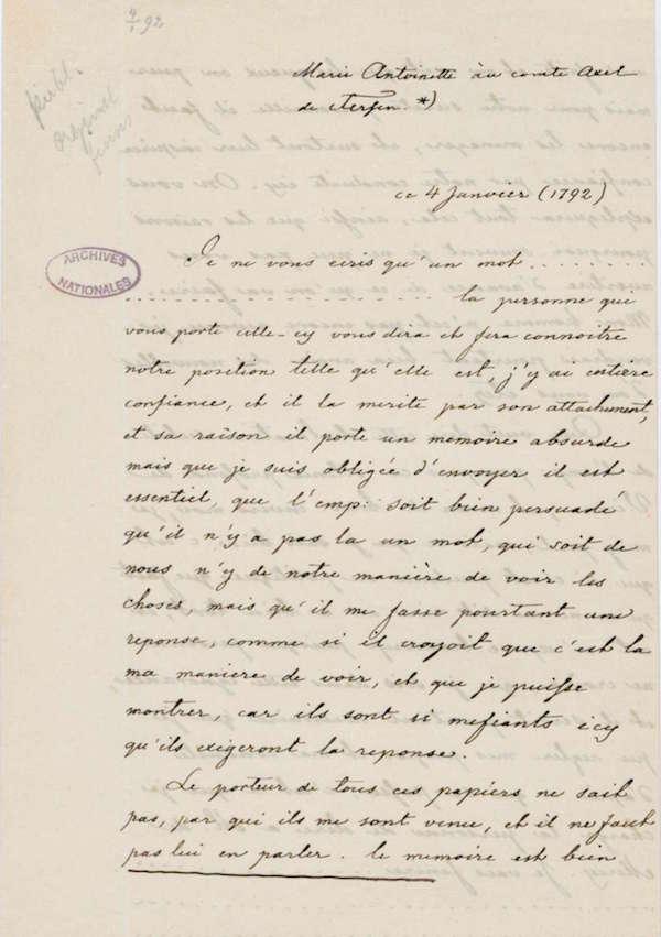 Lettres autographes de Marie-Antoinette à Fersen conservées aux A.N Fran_011