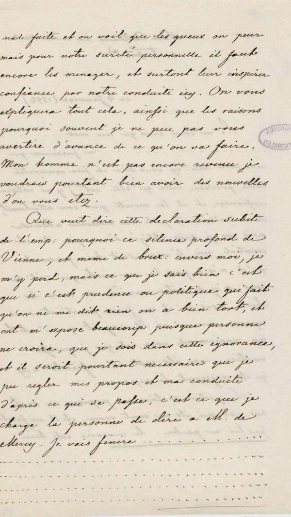 Lettres autographes de Marie-Antoinette à Fersen conservées aux A.N Fran_012