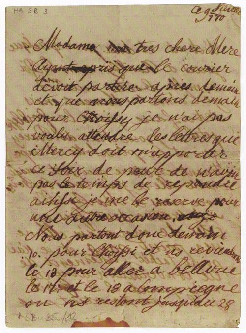 Mot de Marie Antoinette à sa femme de chambre. 19 avril 1770 Lettre13