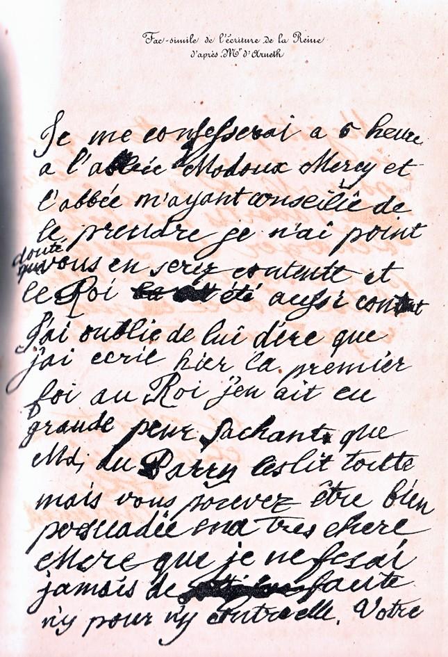 Mot de Marie Antoinette à sa femme de chambre. 19 avril 1770 Lettre14