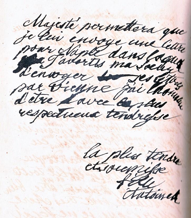 Mot de Marie Antoinette à sa femme de chambre. 19 avril 1770 Lettre15