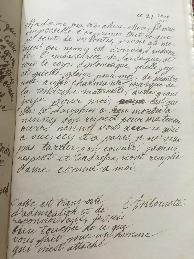 Mot de Marie Antoinette à sa femme de chambre. 19 avril 1770 Lettre16