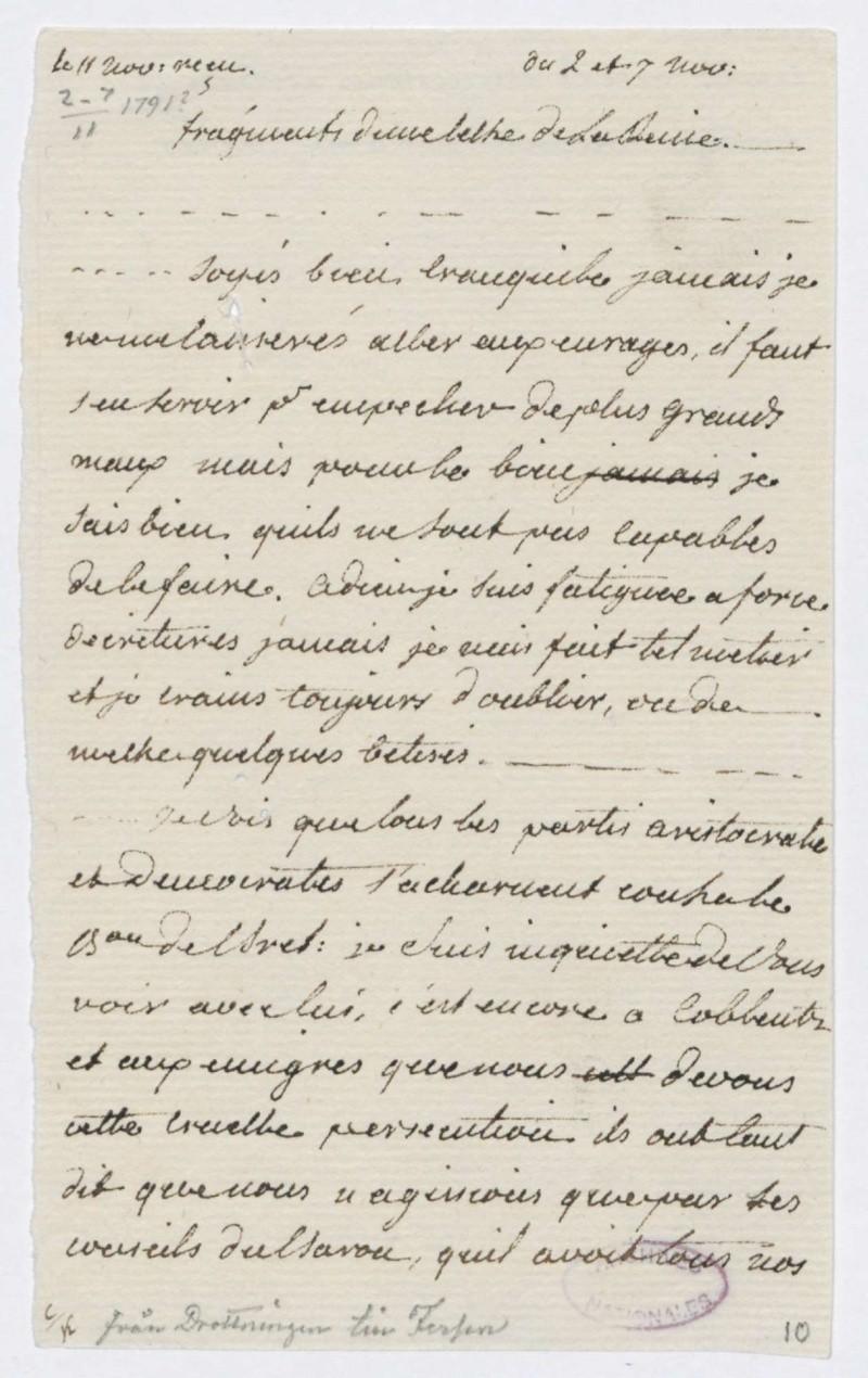 Lettres autographes de Marie-Antoinette à Fersen conservées aux A.N Lettre23