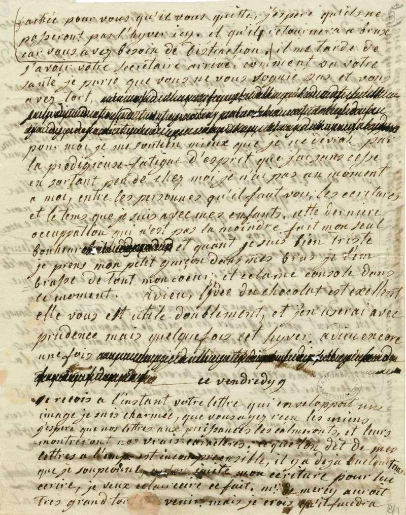 Lettres autographes de Marie-Antoinette à Fersen conservées aux A.N Lettre27