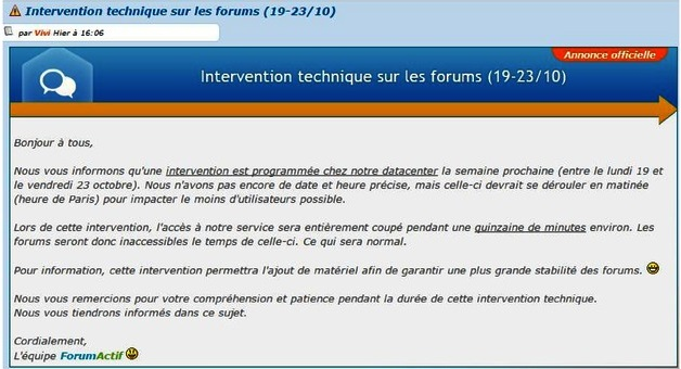 **Intervention technique sur le forum** Alerte10