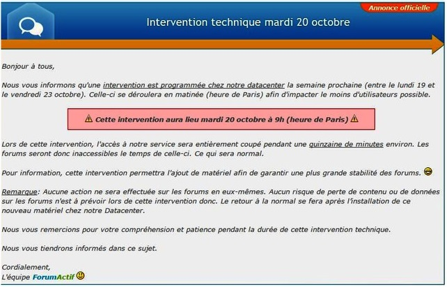 **Intervention technique sur le forum** Interv10