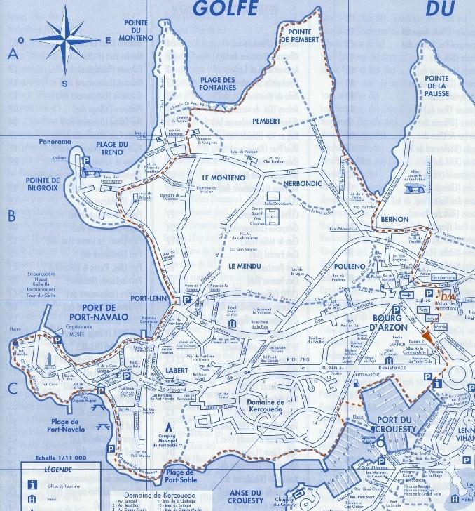 Circuit n° 12 : 9 km; Le Port, Le Petit Mousse, Promenade du phare et baie de Port Navalo, Bilgroix, Le Monteno, Pte de Pembert Circui18
