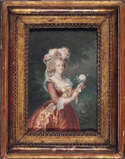 Déclinaisons sur le portraits à la rose en robe bleue, d'après Elisabeth Vigée Lebrun Be9b0810